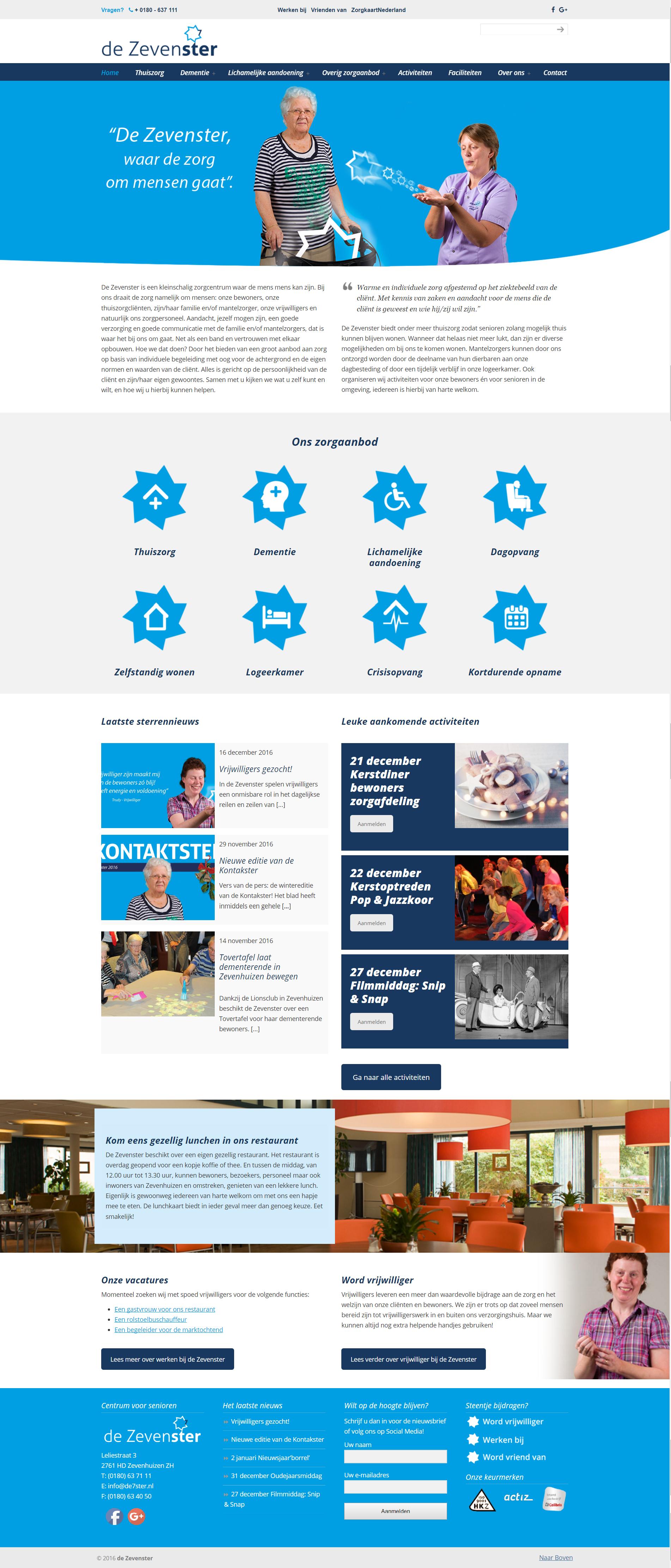 definitieve website de Zevenster - webdesign/website laten maken